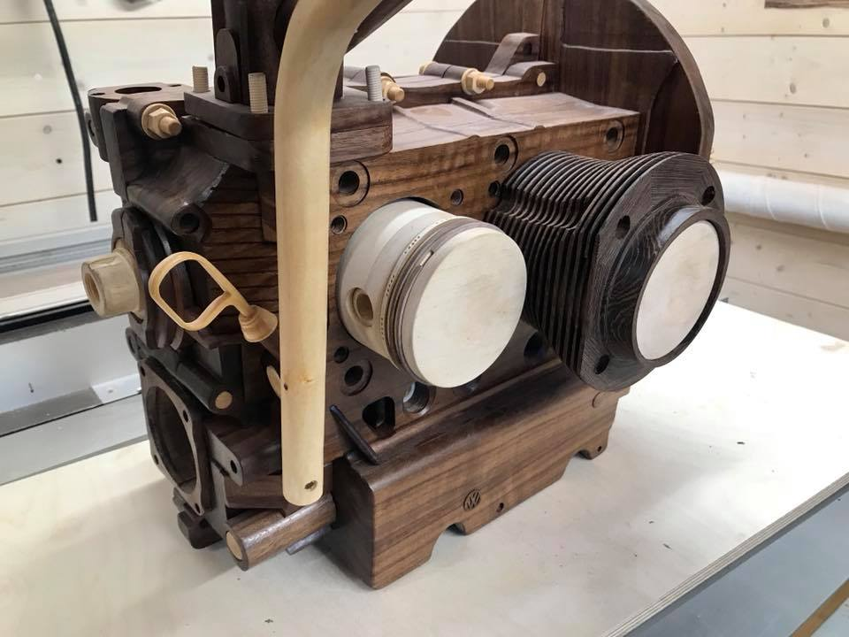 Wooden Volkswagen Engine Wood Art Finland (12)