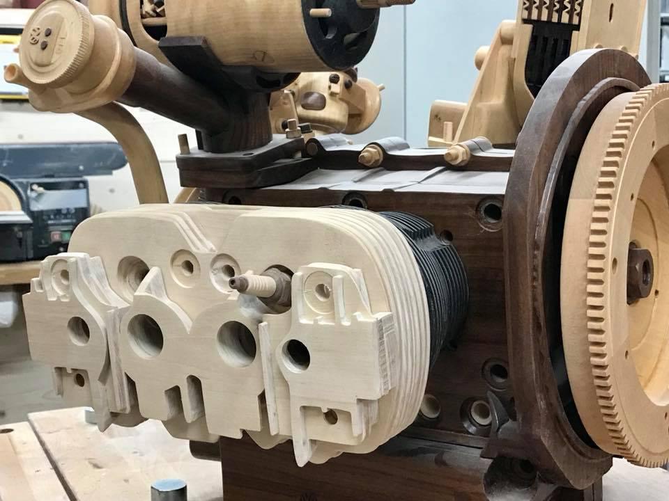 Wooden Volkswagen Engine Wood Art Finland (135)