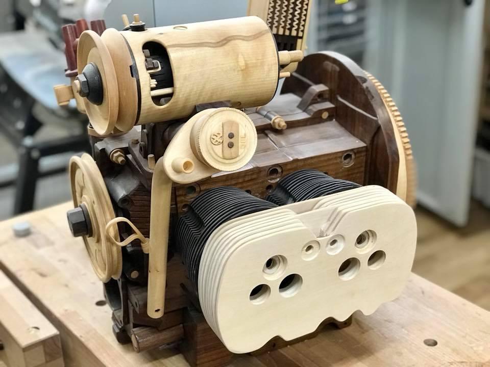 Wooden Volkswagen Engine Wood Art Finland (136)
