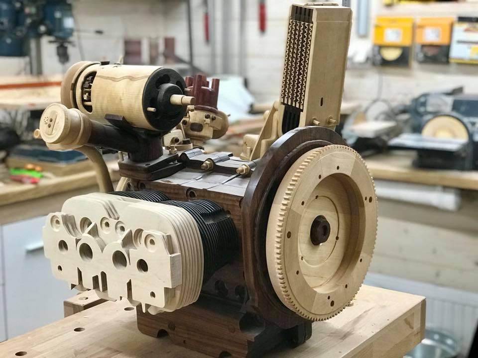 Wooden Volkswagen Engine Wood Art Finland (138)