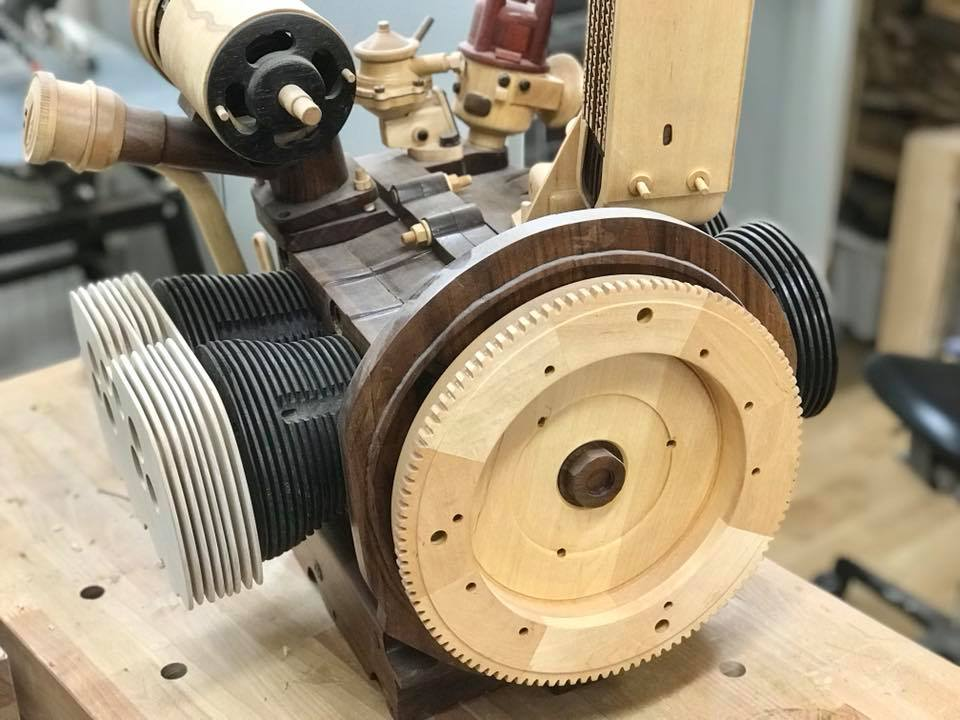 Wooden Volkswagen Engine Wood Art Finland (139)
