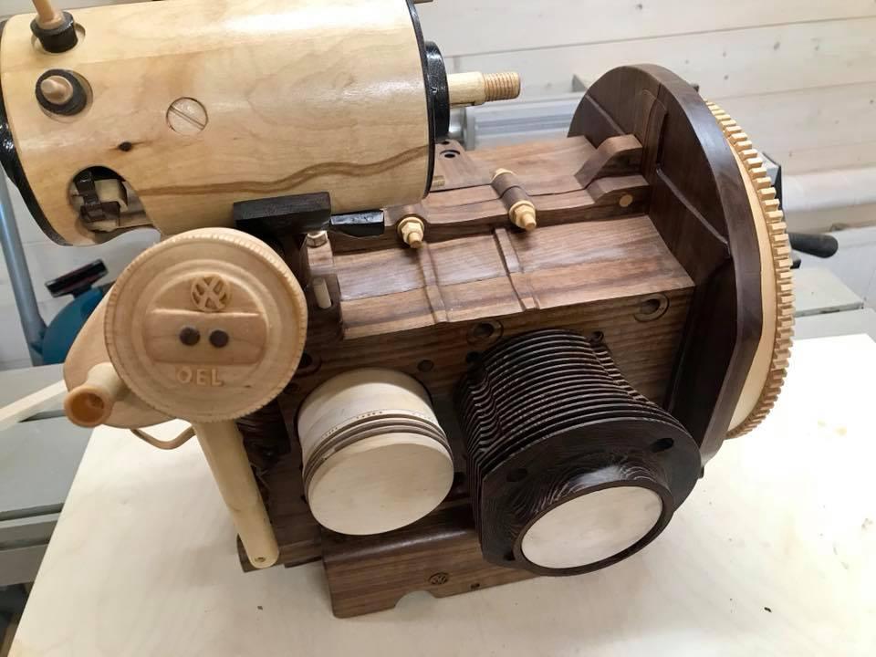 Wooden Volkswagen Engine Wood Art Finland (14)