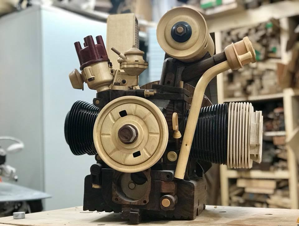 Wooden Volkswagen Engine Wood Art Finland (142)