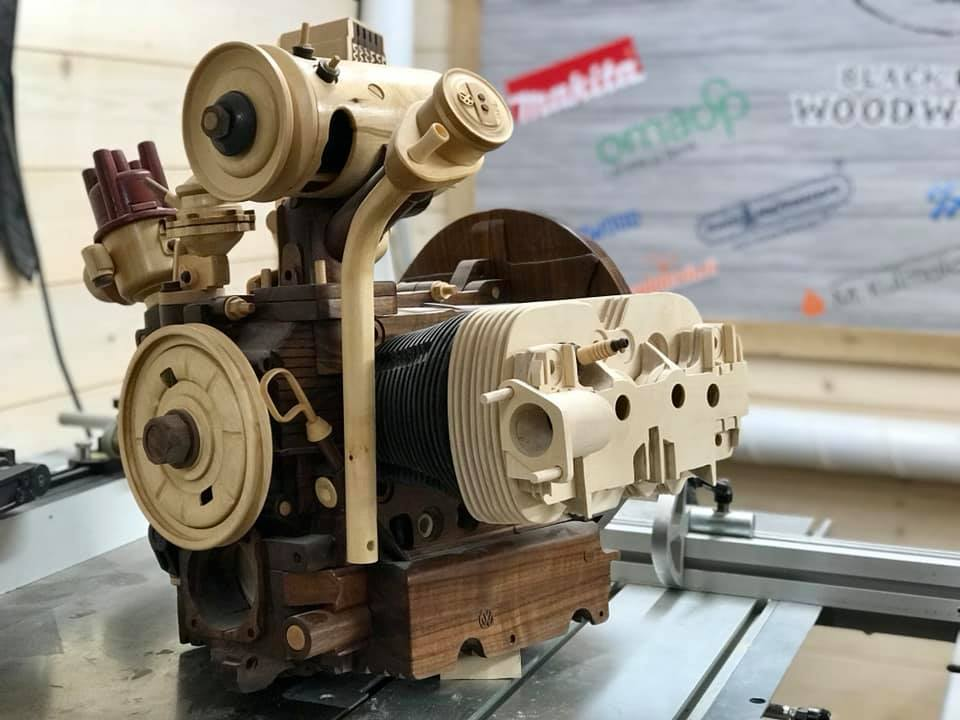Wooden Volkswagen Engine Wood Art Finland (150)