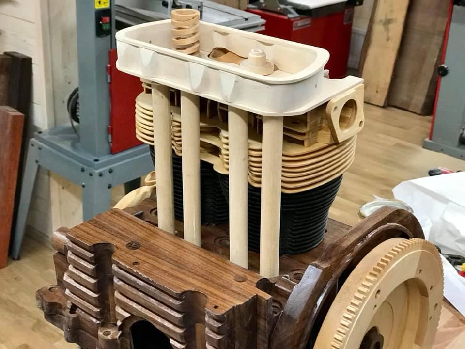 Wooden Volkswagen Engine Wood Art Finland (153)