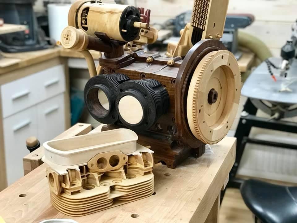 Wooden Volkswagen Engine Wood Art Finland (158)