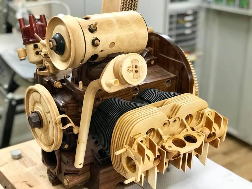 Wooden Volkswagen Engine Wood Art Finland (159)