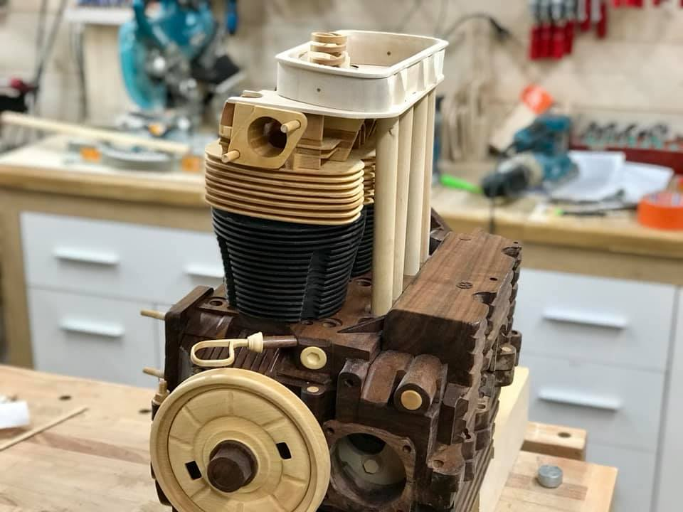 Wooden Volkswagen Engine Wood Art Finland (163)