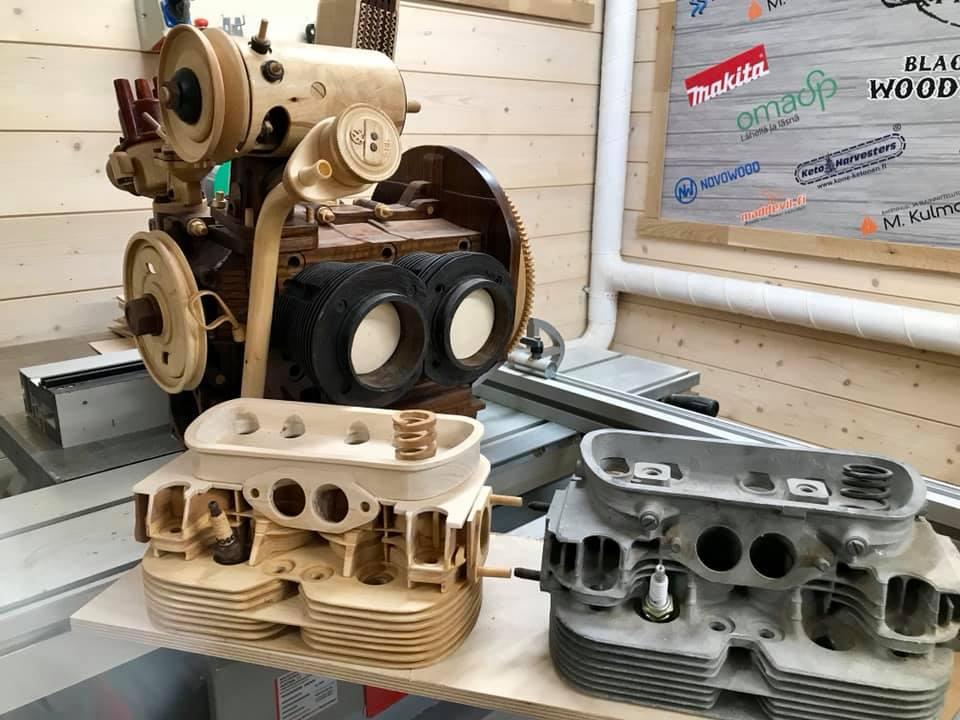 Wooden Volkswagen Engine Wood Art Finland (165)