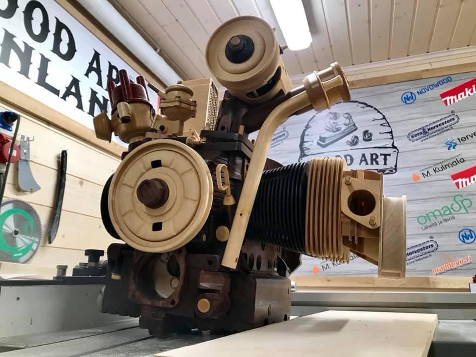 Wooden Volkswagen Engine Wood Art Finland (167)