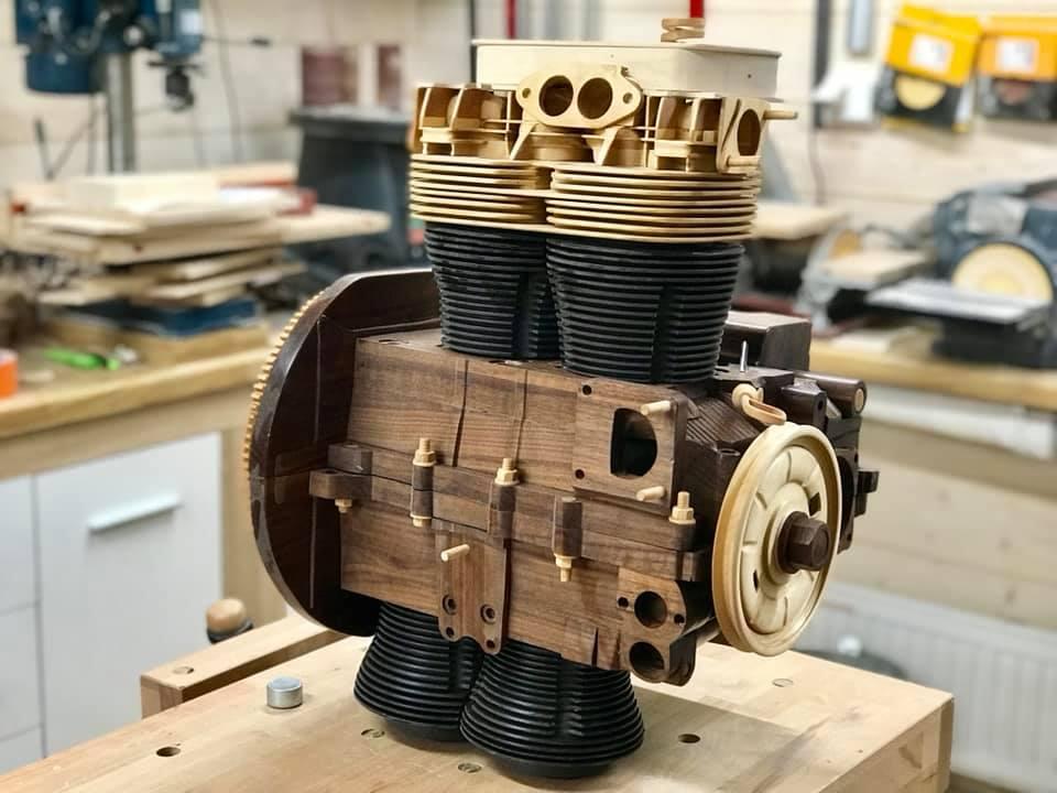 Wooden Volkswagen Engine Wood Art Finland (169)