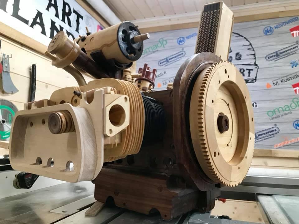 Wooden Volkswagen Engine Wood Art Finland (172)