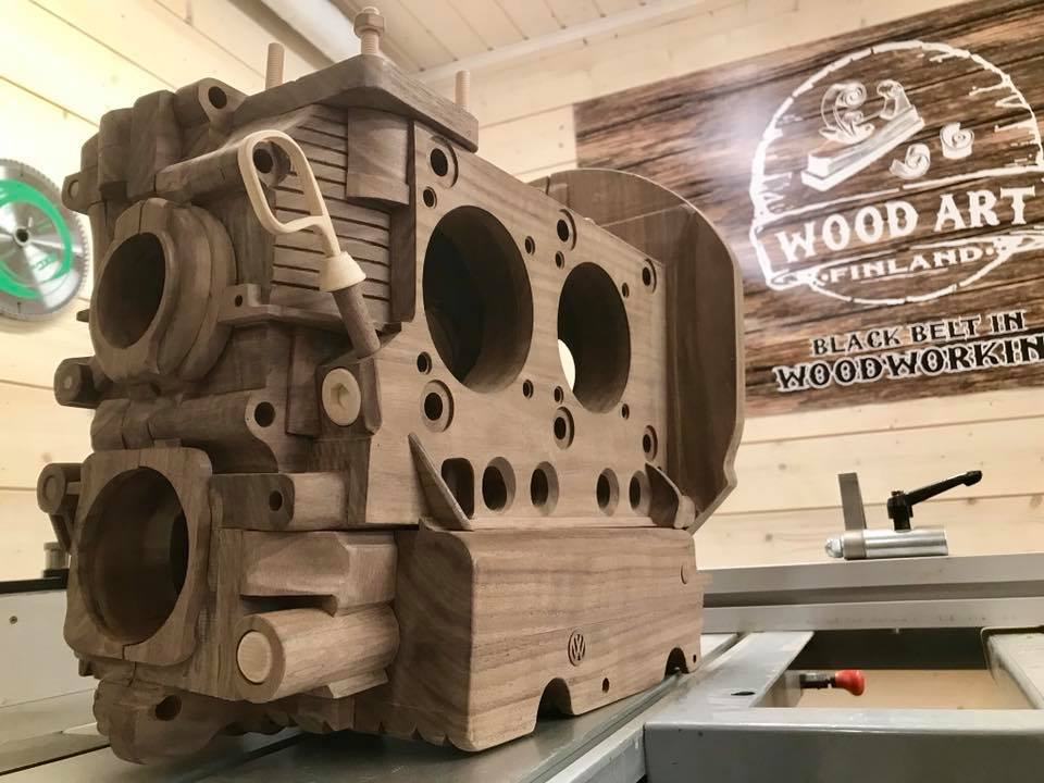 Wooden Volkswagen Engine Wood Art Finland (184)