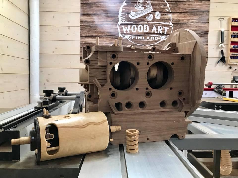 Wooden Volkswagen Engine Wood Art Finland (215)