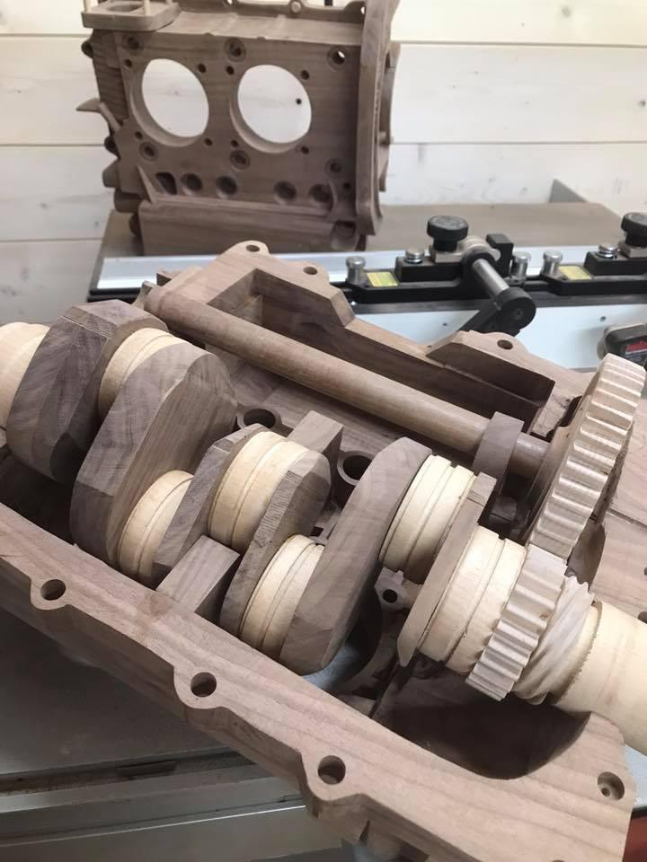 Wooden Volkswagen Engine Wood Art Finland (217)