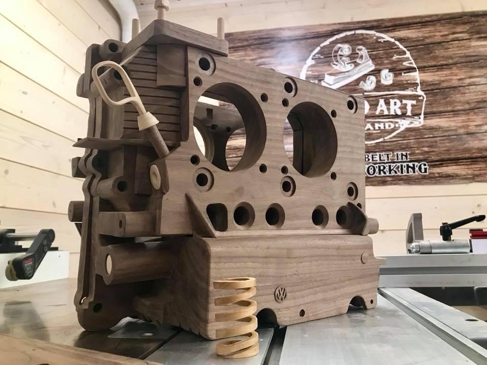 Wooden Volkswagen Engine Wood Art Finland (221)