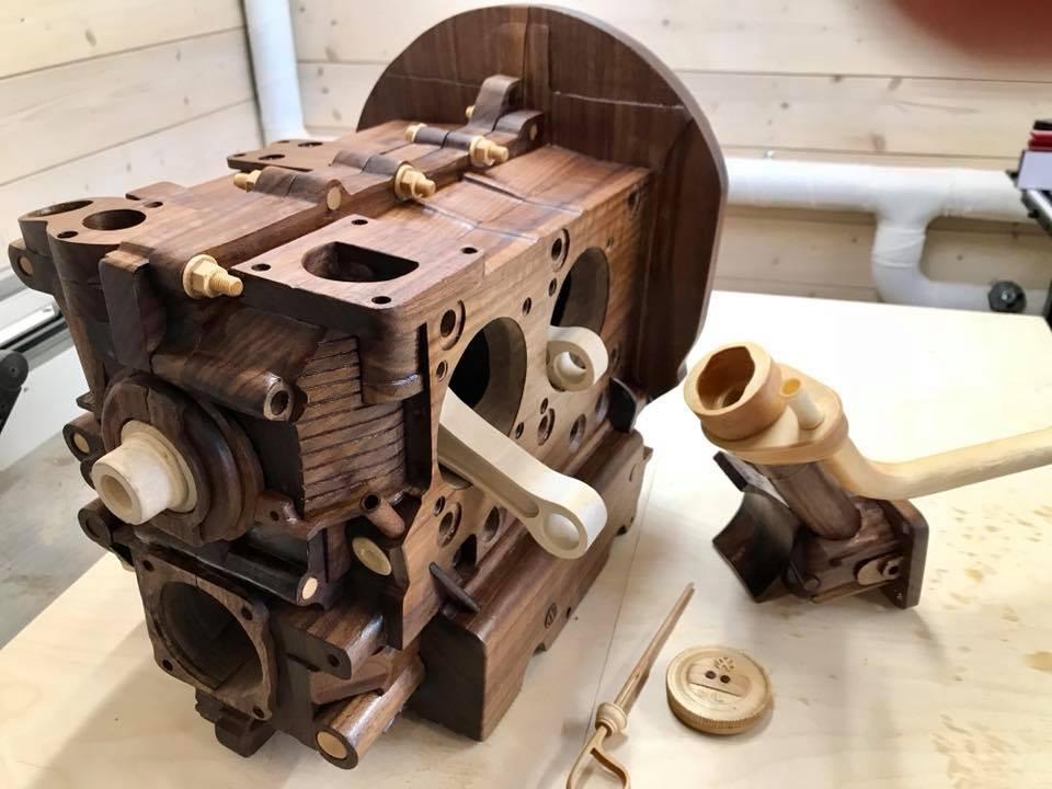 Wooden Volkswagen Engine Wood Art Finland (225)