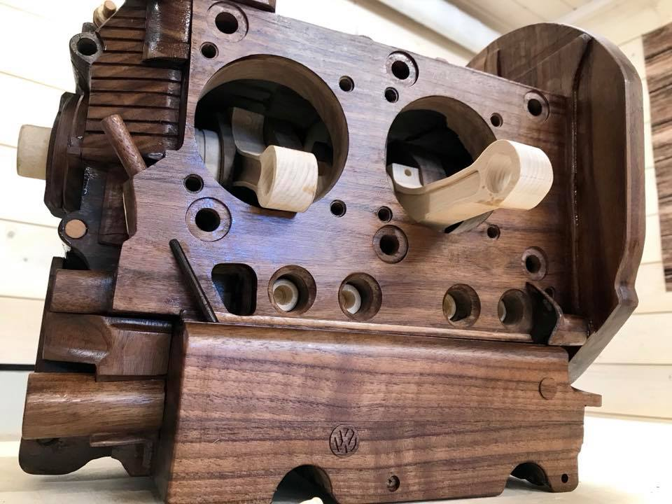 Wooden Volkswagen Engine Wood Art Finland (227)