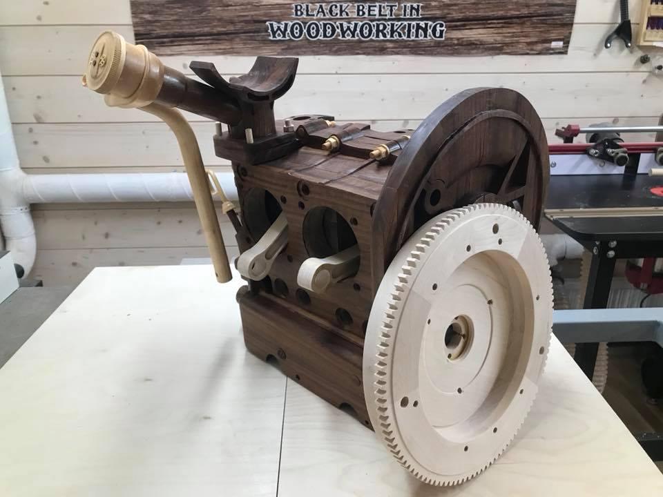 Wooden Volkswagen Engine Wood Art Finland (234)