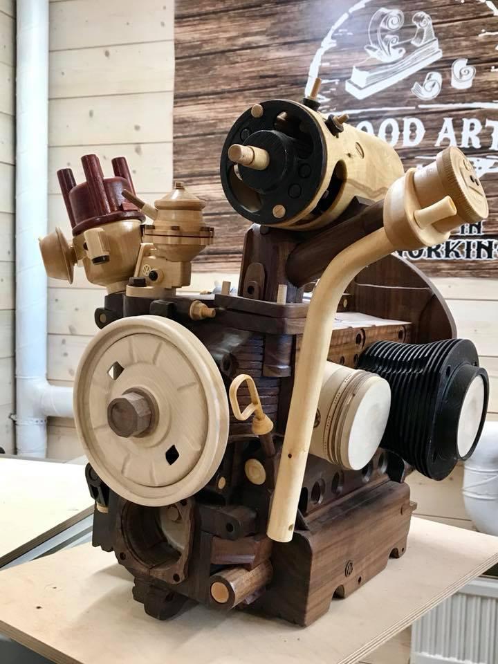 Wooden Volkswagen Engine Wood Art Finland (47)
