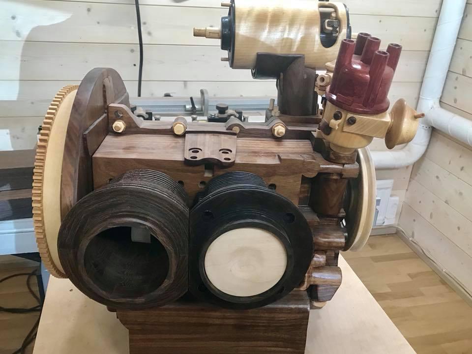 Wooden Volkswagen Engine Wood Art Finland (60)