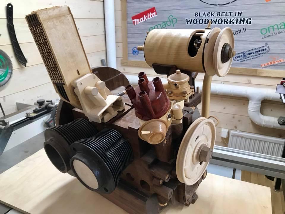 Wooden Volkswagen Engine Wood Art Finland (77)