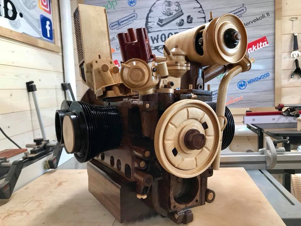Wooden Volkswagen Engine Wood Art Finland (84)