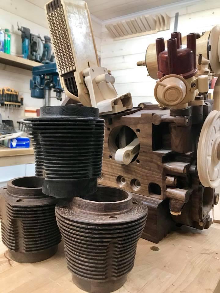 Wooden Volkswagen Engine Wood Art Finland (86)