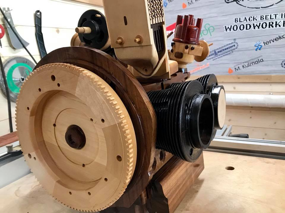Wooden Volkswagen Engine Wood Art Finland (92)