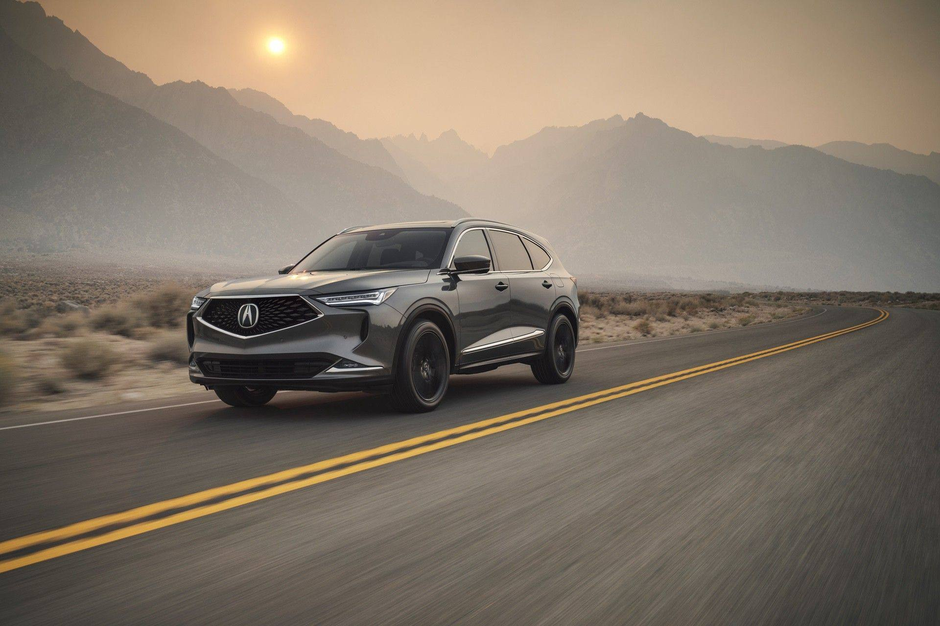 2022 MDX SH-AWD Advance Liquid Carbon Metallic 3/4 Front Passenger Exterior running highway Accessory Gloss Black Wheels