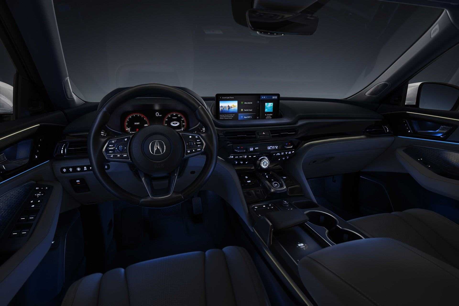 2022 MDX SH-AWD Advance Parchment Interior 3/4 Driver Dash POV Power ON Night Interior Static Iconic Drive Lighting BAJA HWY 1