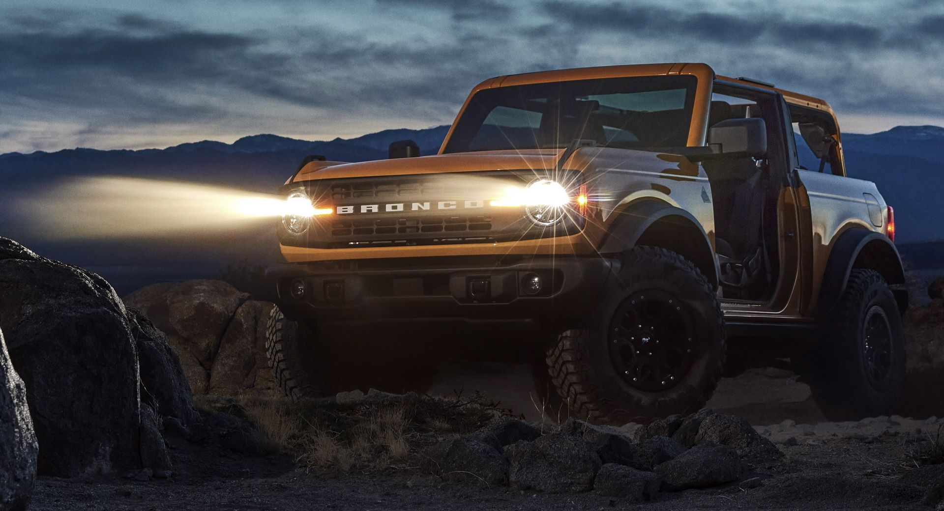 Pre-production 2021 two-door Bronco Black Diamond series in Cyber Orange Metallic Tri-Coat with Sasquatch™ off-road package.