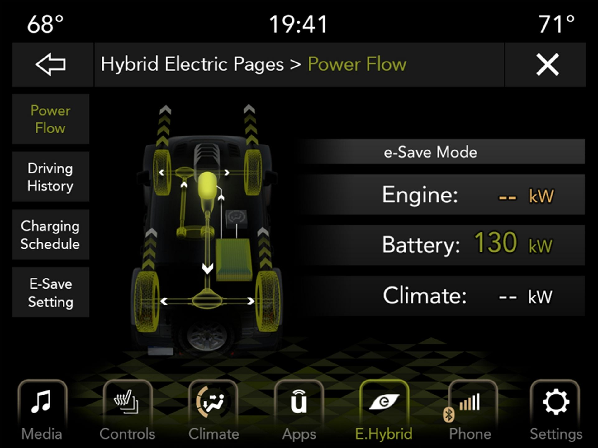The Hybrid Electric Pages in the 2021 Jeep Wrangler 4xe tracks driving history, showing usage by battery and engine power.