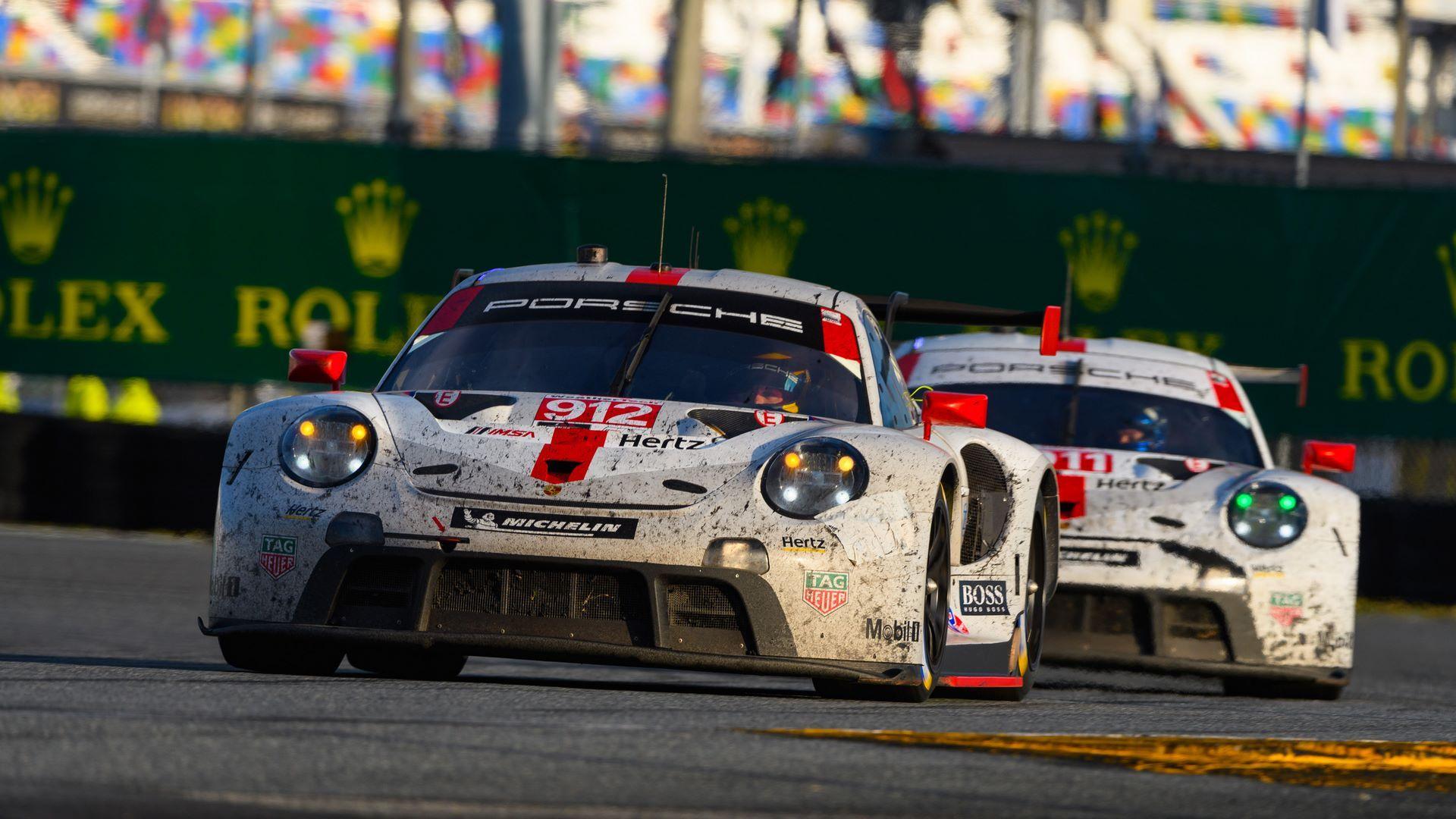 Porsche 911 RSR, Porsche GT Team (912): Earl Bamber (NZ), Mathieu Jaminet (F), Laurens Vanthoor (B), Porsche GT Team (911): Nick Tandy (GB), Frederic Makowiecki (F), Matt Campbell (AUS)
