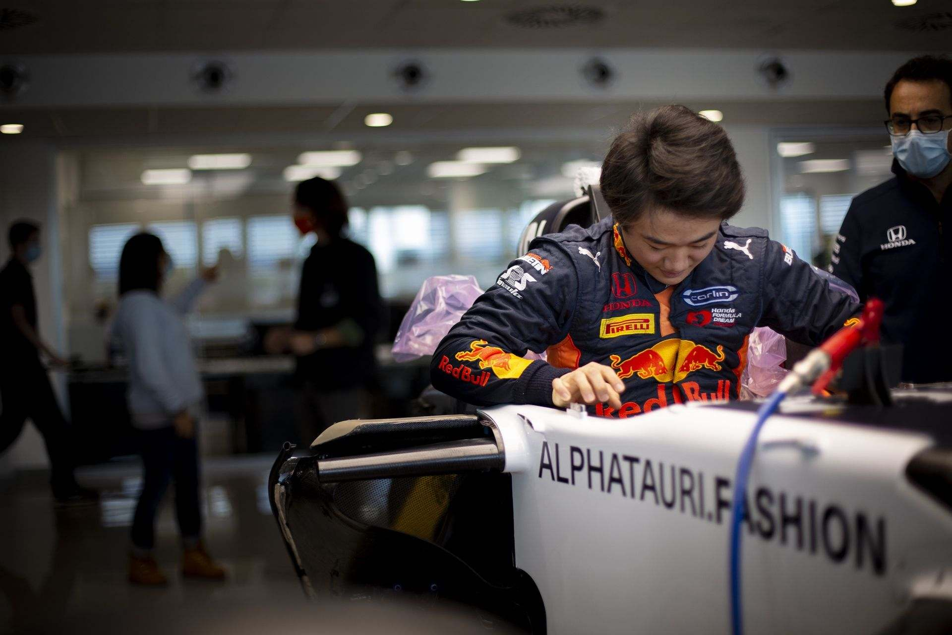 FAENZA, ITALY - OCTOBER 14: Yuki Tsunoda of Japan completes his seat fit at the Scuderia AlphaTauri factory on October 14, 2020 in Faenza, Italy. (Photo by Josh Kruse/Scuderia AlphaTauri) // Josh Kruse / Scuderia AlphaTauri / Red Bull Content Pool // SI202010140209 // Usage for editorial use only //