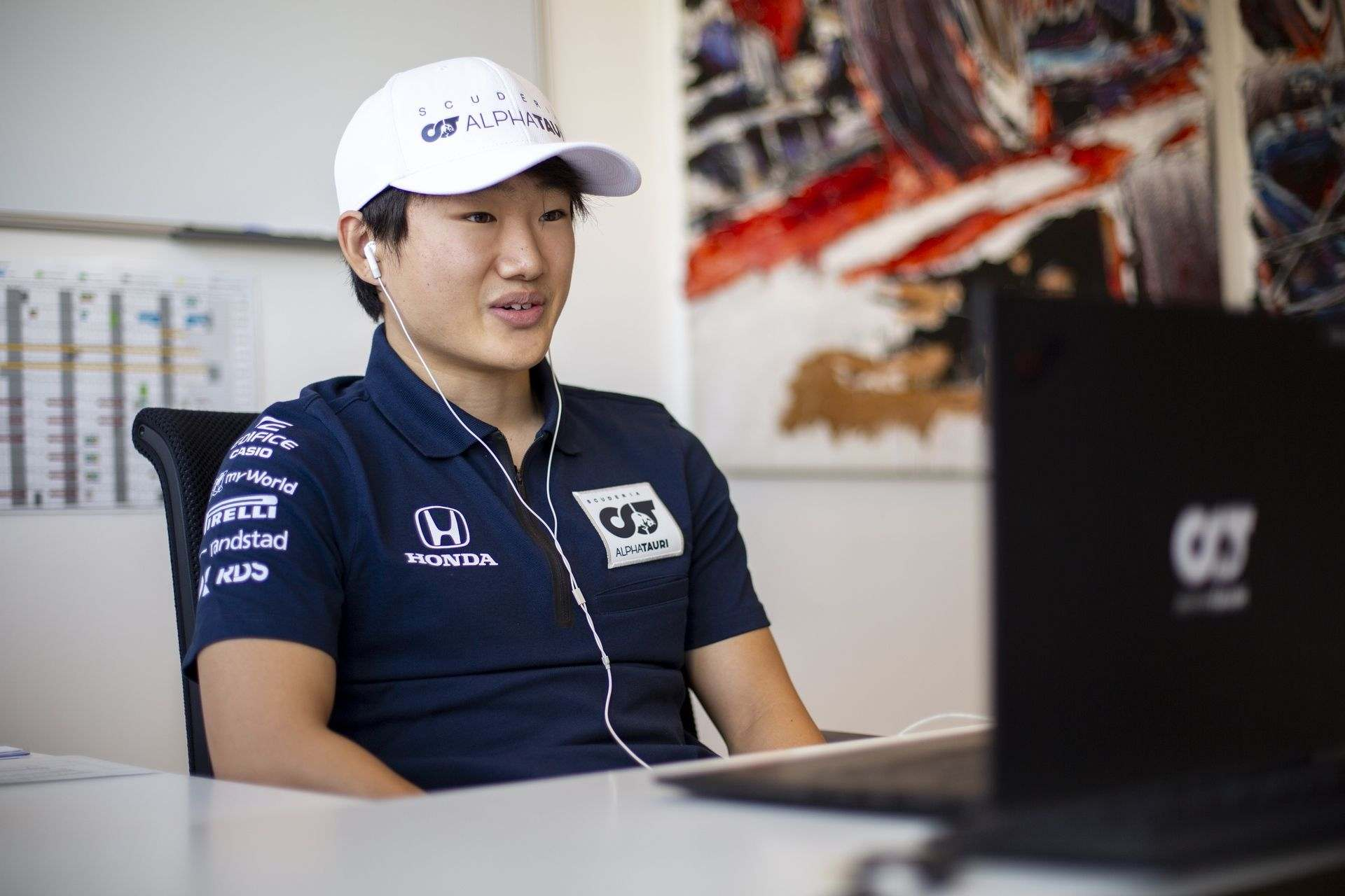 FAENZA, ITALY - OCTOBER 14: Yuki Tsunoda of Japan completes his seat fit and gives online interviews at the Scuderia AlphaTauri factory on October 14, 2020 in Faenza, Italy. (Photo by Josh Kruse/Scuderia AlphaTauri) // Josh Kruse / Scuderia AlphaTauri / Red Bull Content Pool // SI202010140210 // Usage for editorial use only //