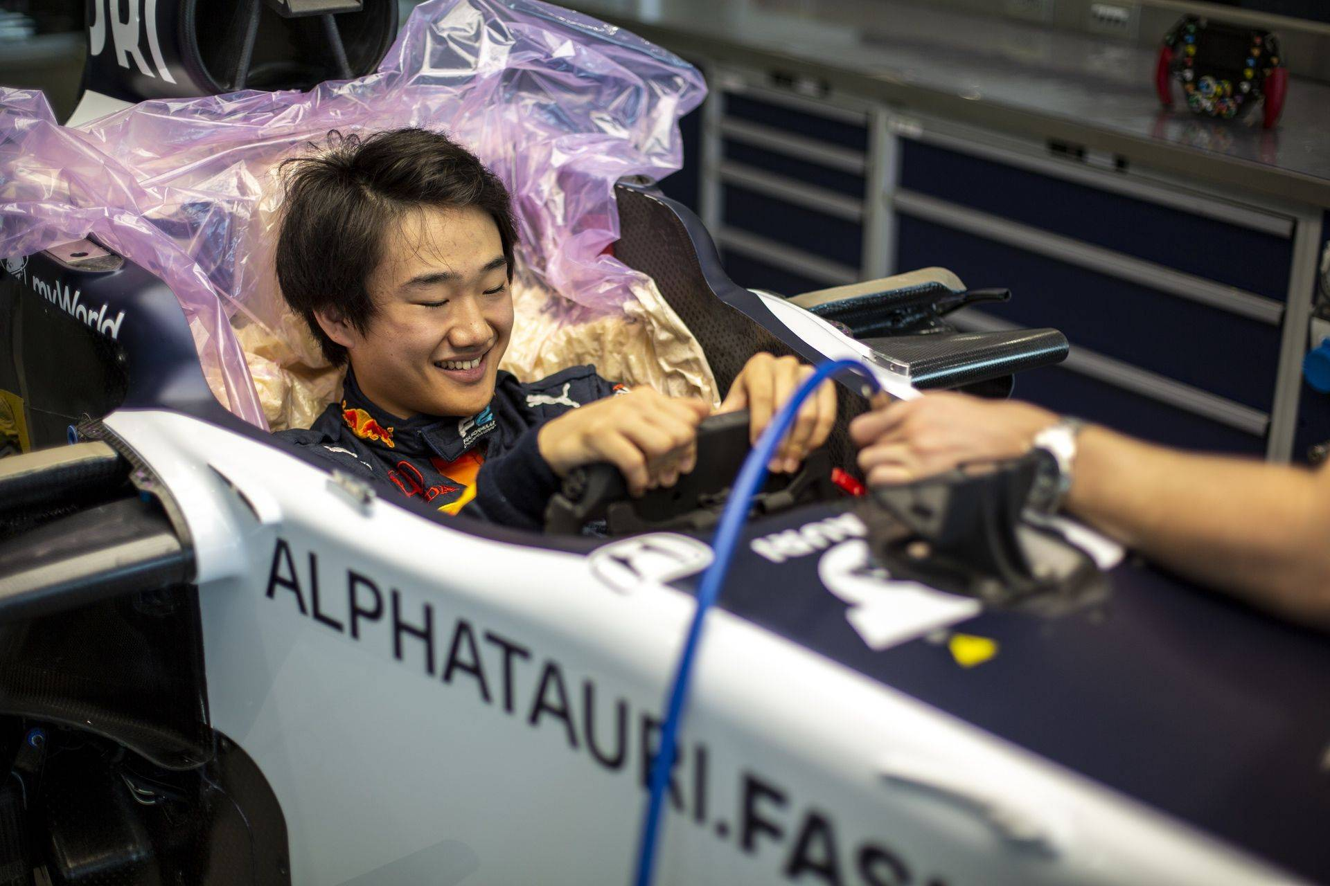 FAENZA, ITALY - OCTOBER 14: Yuki Tsunoda of Japan completes his seat fit at the Scuderia AlphaTauri factory on October 14, 2020 in Faenza, Italy. (Photo by Josh Kruse/Scuderia AlphaTauri) // Josh Kruse / Scuderia AlphaTauri / Red Bull Content Pool // SI202010140221 // Usage for editorial use only //