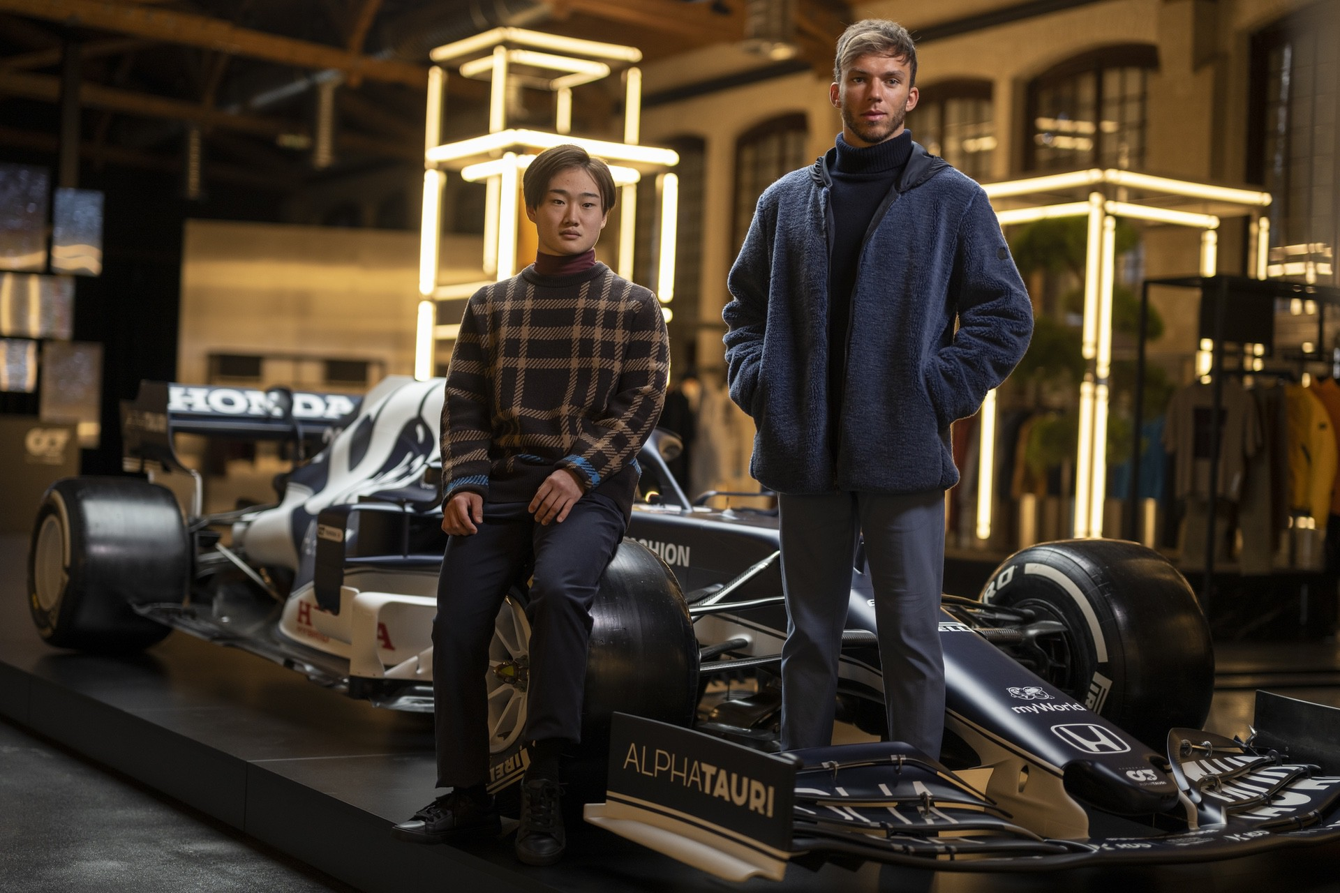 Yuki Tsunoda of Japan and Pierre Gasly of France seen during the Suderia AlphaTauri AT02 Livery Reveal 2021 - Fashion meets Formula 1 in Salzburg, Austria on February 15, 2021. // Joerg Mitter / Red Bull Content Pool // SI202102180134 // Usage for editorial use only //