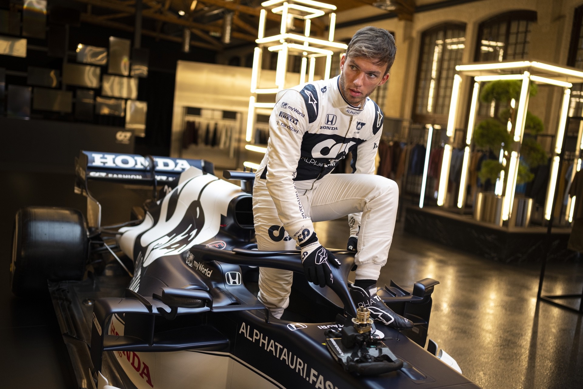 Pierre Gasly of France seen during the Suderia AlphaTauri AT02 Livery Reveal 2021 - Fashion meets Formula 1 in Salzburg, Austria on February 15, 2021. // Joerg Mitter / Red Bull Content Pool // SI202102180149 // Usage for editorial use only //