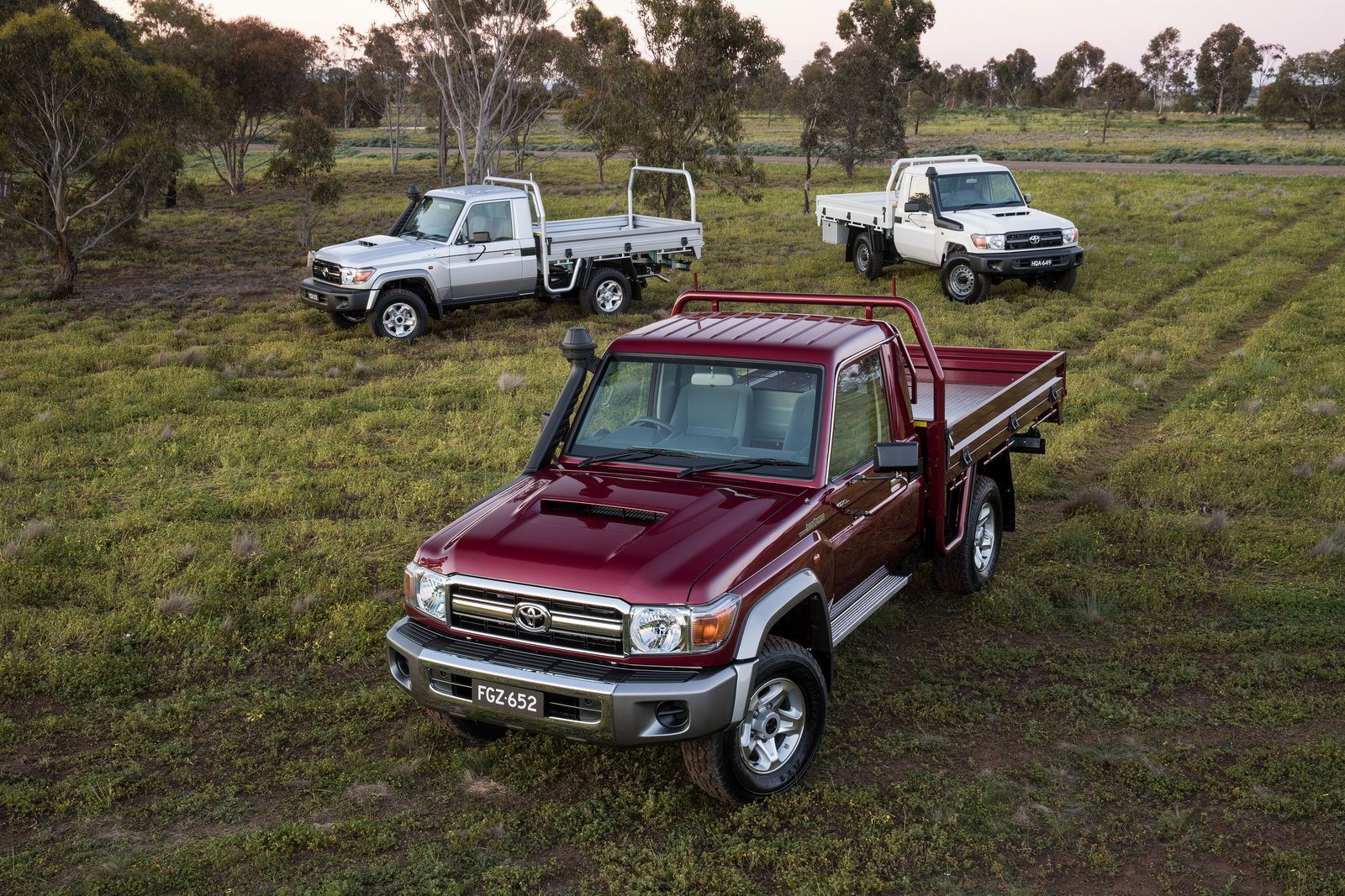 2016 Toyota LandCruiser 70 Series Single Cab Chassis Range - GXL (front), GX (left rear) and Workmate