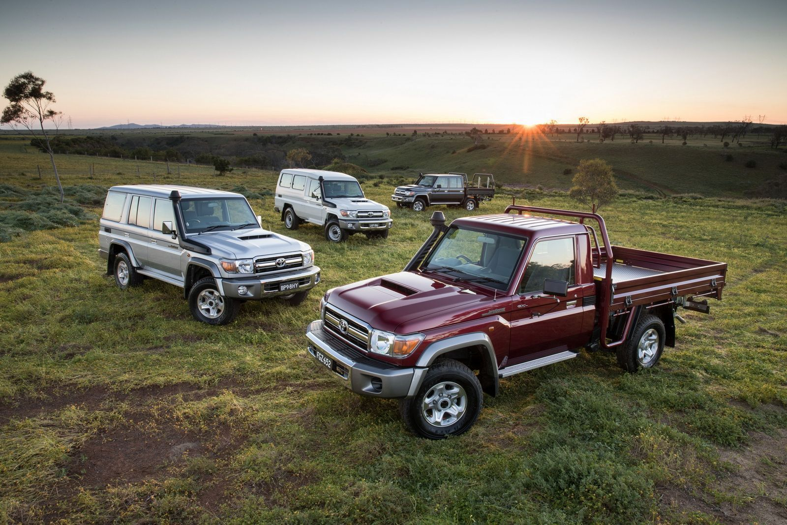 2016 Toyota LandCruiser 70 Series Range - Single Cab Chassis GXL (right), Wagon GXL (left), Troop Carrier GXL and Double Cab Chassis GXL (rear)