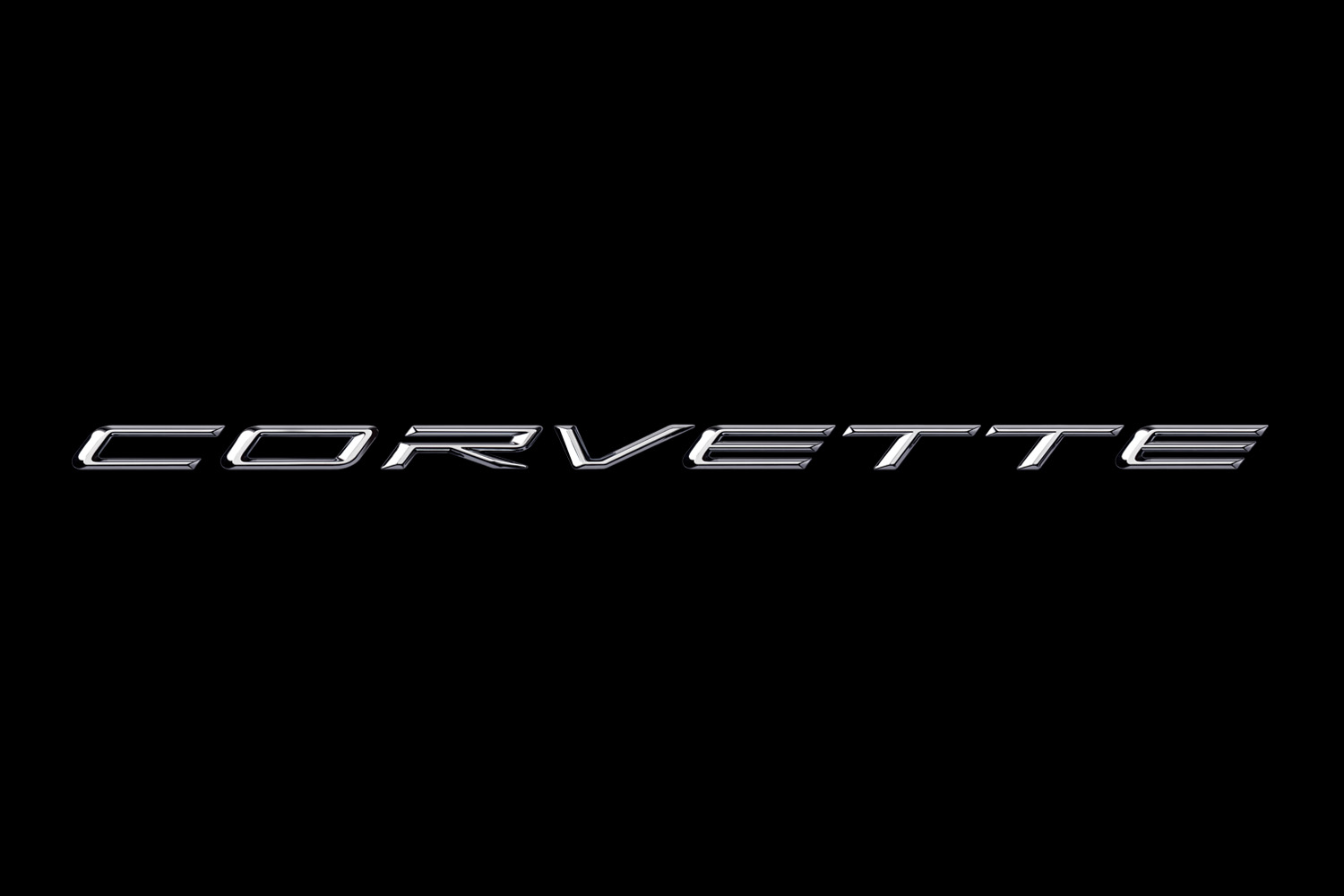 2020 Corvette Signature in Chrome Script on Black