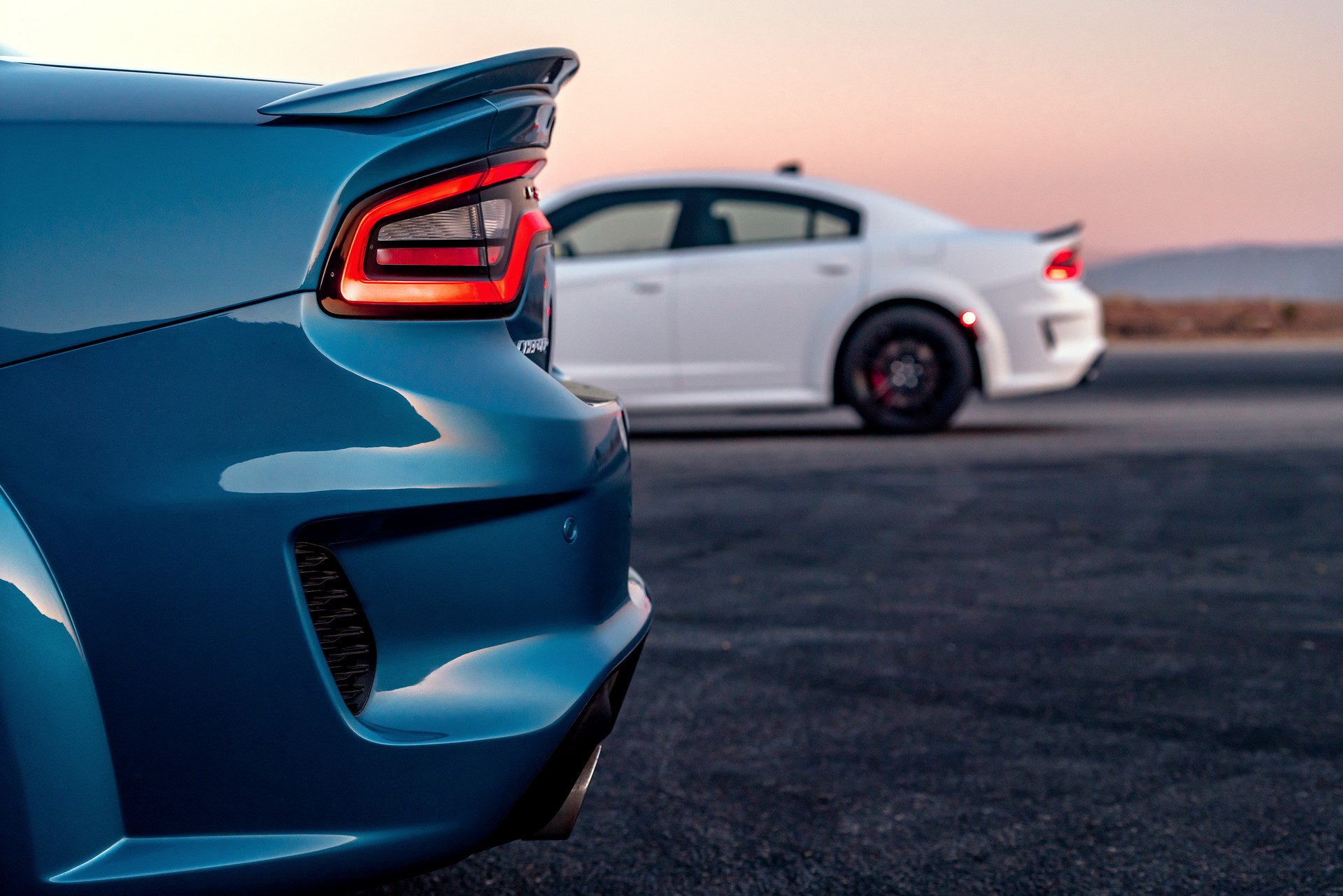 2020 Dodge Charger SRT Hellcat Widebody (Front) and 2020 Dodge Charger Scat Pack Widebody (Back)