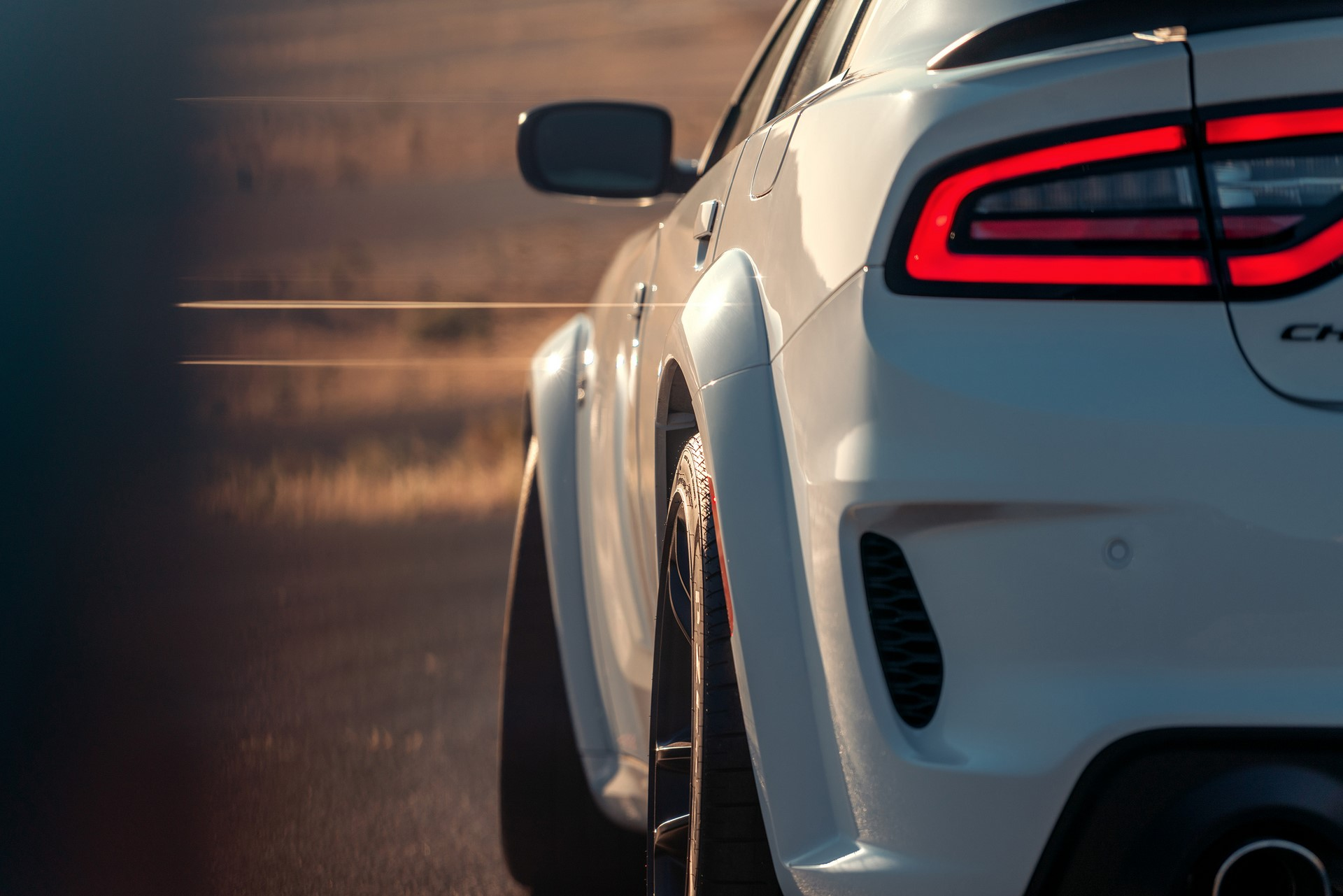 New integrated fender flares add 3.5-inches of width to make room for the wider 20 x 11-inch wheels on the 2020 Dodge Charger Scat Pack Widebody