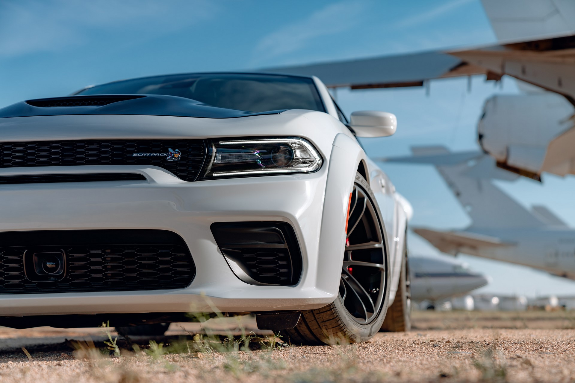 Newly designed front fascia on the 2020 Dodge Charger Scat Pack Widebody features a new mail slot grille opening designed for maximum air flow