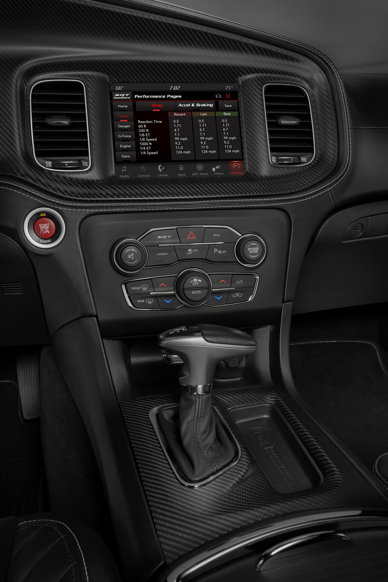 Standard SRT Performance Pages in the 2020 Dodge Charger SRT Hellcat Widebody bring critical vehicle performance data to the driver's fingertips, including real-time engine data such as horsepower, torque, oil pressure and dyno graph. Included in the available Carbon & Suede Package are real carbon fiber instrument panel and console bezels.