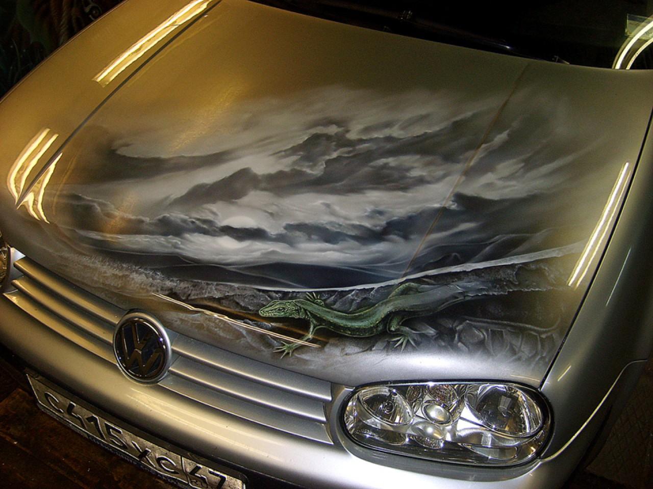 سيارات رائعة بلوحات فنية طبيعية اروع Russia-airbrush-cars-25
