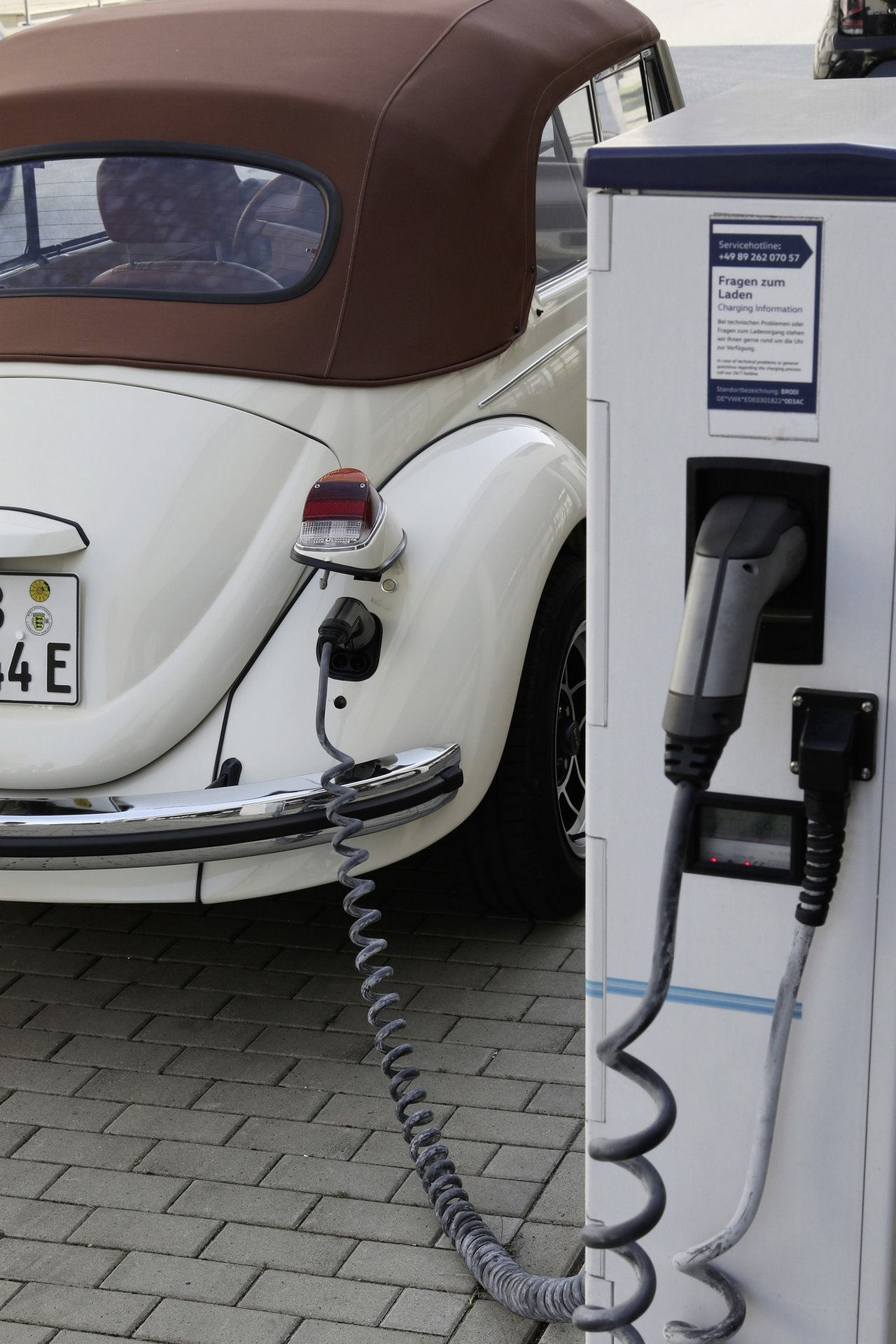 The e-Beetle is being charged