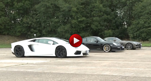 video lamborghini aventador vs porsche 911 gt2 rs vs mercedes sls amg. Black Bedroom Furniture Sets. Home Design Ideas